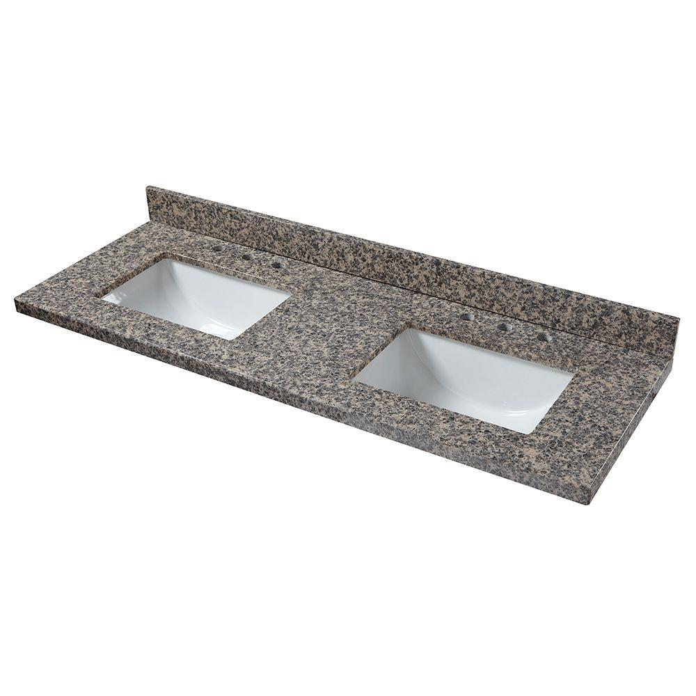 61 in. W Granite Double Basin Vanity Top in Sircolo