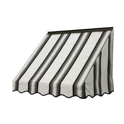 NuImage Awnings 6 ft. 3700 Series Fabric Window Awning (28 in. H x 24 in. D) in Grey/Black/White