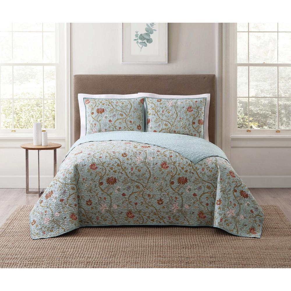 Style 212 Bedford Blue Multi Multi Full And Queen Xl Quilt Set