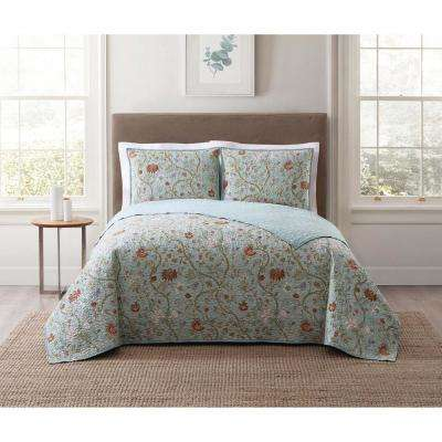 Bedford Blue Multi Multi Full and Queen XL Quilt Set