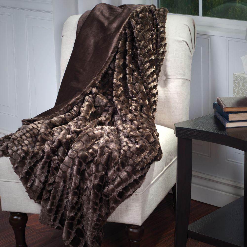 Brown Plush Croc Embossed Faux Fur Mink Throw