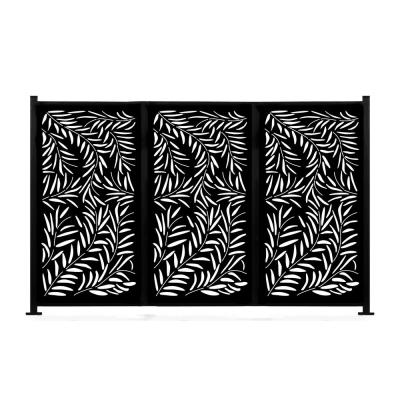 """New Style MetalArt Laser Cut Metal Black Privacy Fence Screen, WeepingWillow, 2Pole With 3Panel, 48""""x72""""/Set"""