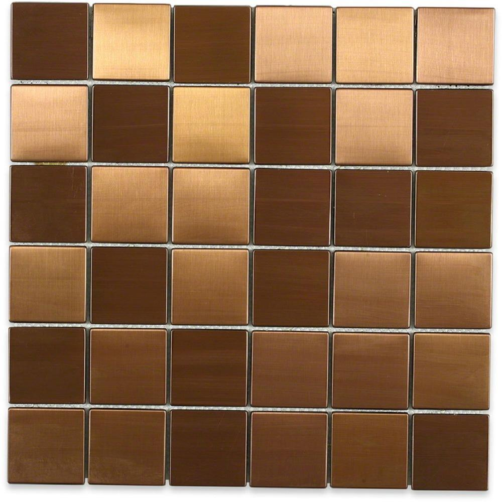 Wonderful Splashback Tile Metal Copper 2 In. Squares 12 In. X 12 In. X