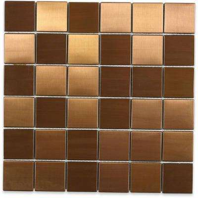 Metal Copper 2 in. Squares 12 in. x 12 in. x 8 mm Stainless Steel Backsplash Tile