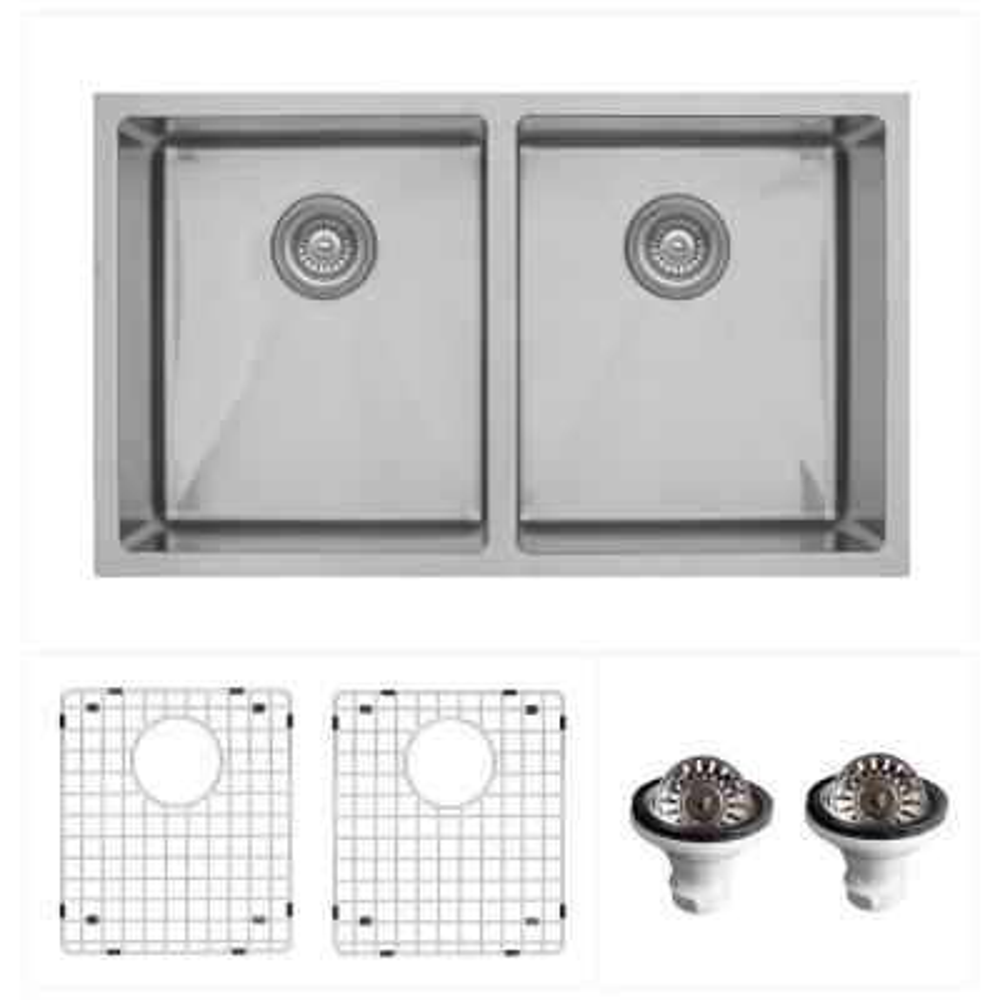 Stainless Steel 32 in. Undermount Double Bowl 50/50 Kitchen Sink Kit