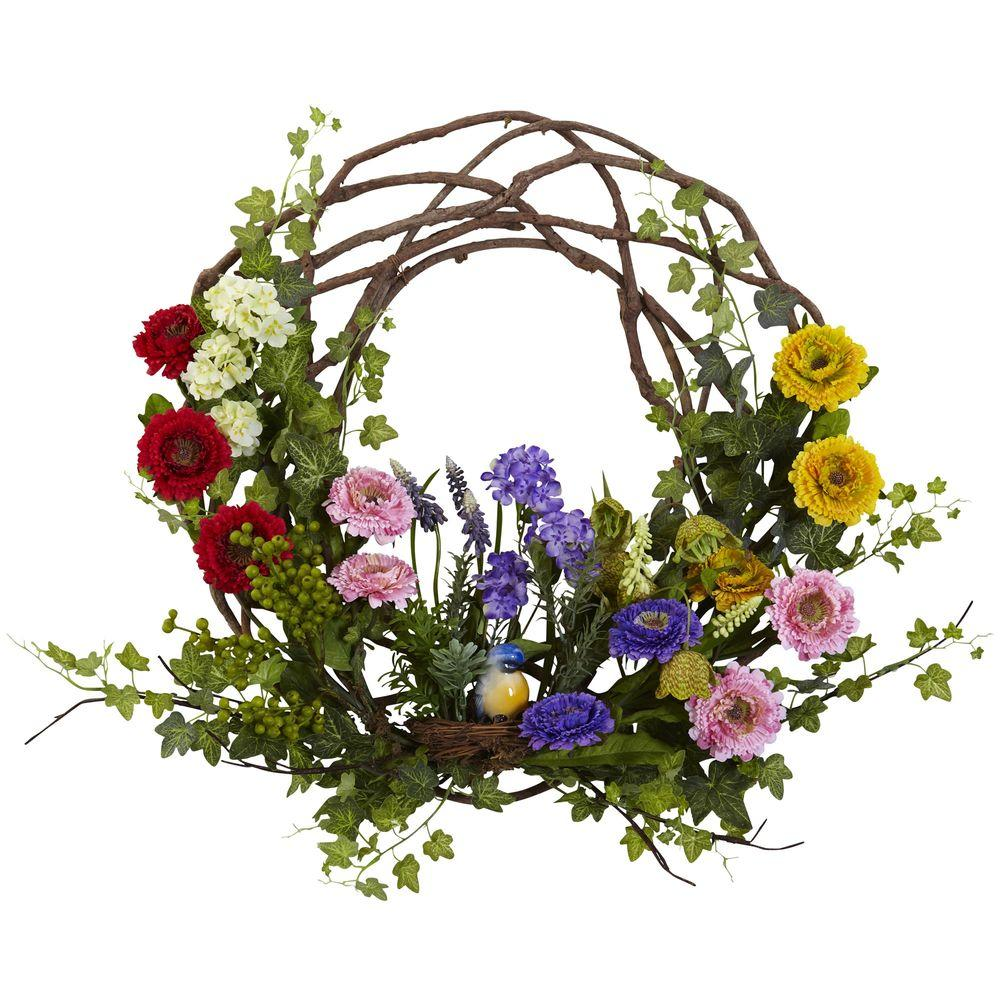 Nearly natural 22 in spring floral wreath 4988 the home depot spring floral wreath mightylinksfo