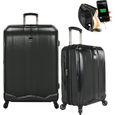 Piazza 2-Piece Smart Spinner Luggage Set, Black