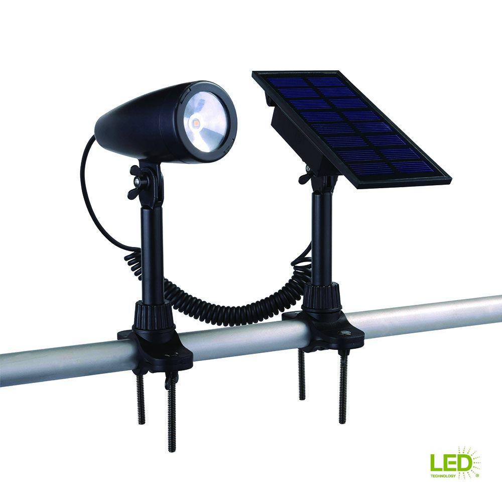 Hampton Bay Solar Black Outdoor Integrated Led Landscape Flag Light Lighting Wiring