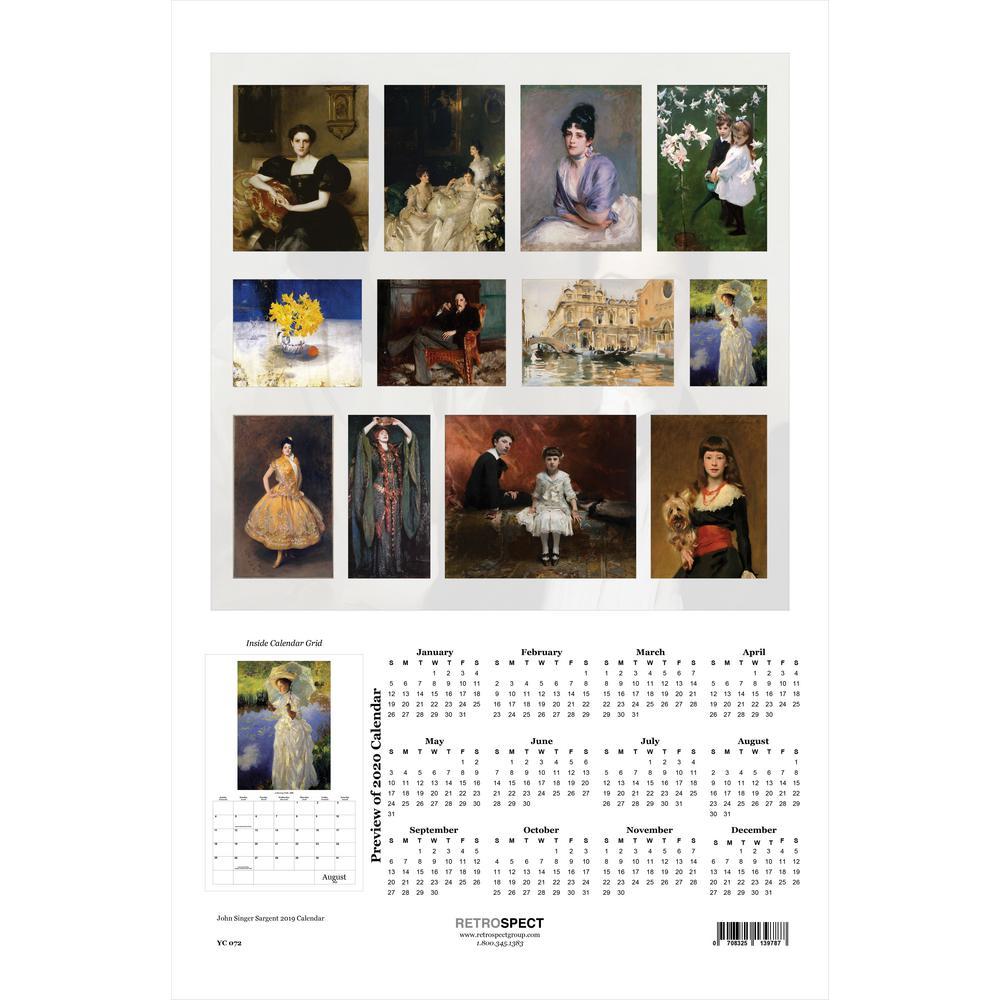 19 in. x 12.5 in. John Singer Sargent - 2019 Calendar