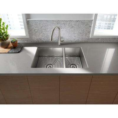 Ludington Undermount Stainless Steel 32 in. 60/40 split Double Bowl Kitchen Sink Kit