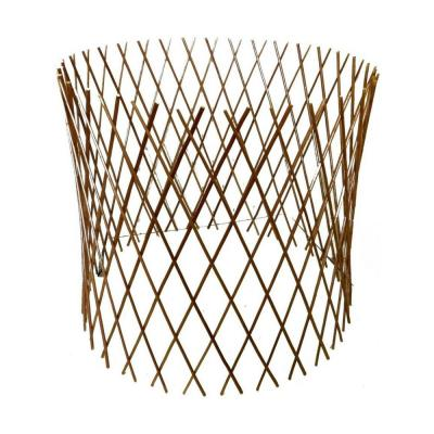 24 in. H x 36 in. Dia Peeled Willow Circular Lattice Trellis Fence Light Mahogany Color