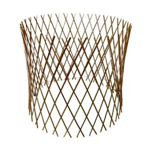 24 inch H x 36 inch Dia Peeled Willow Circular Lattice Trellis Fence Light Mahogany Color by