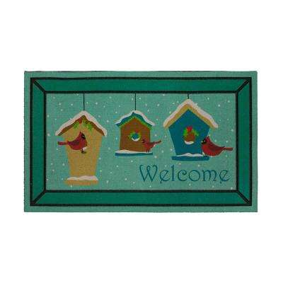 Snowy Winter Cardinals 18 in. x 30 in. Recycled Rubber Holiday Mat