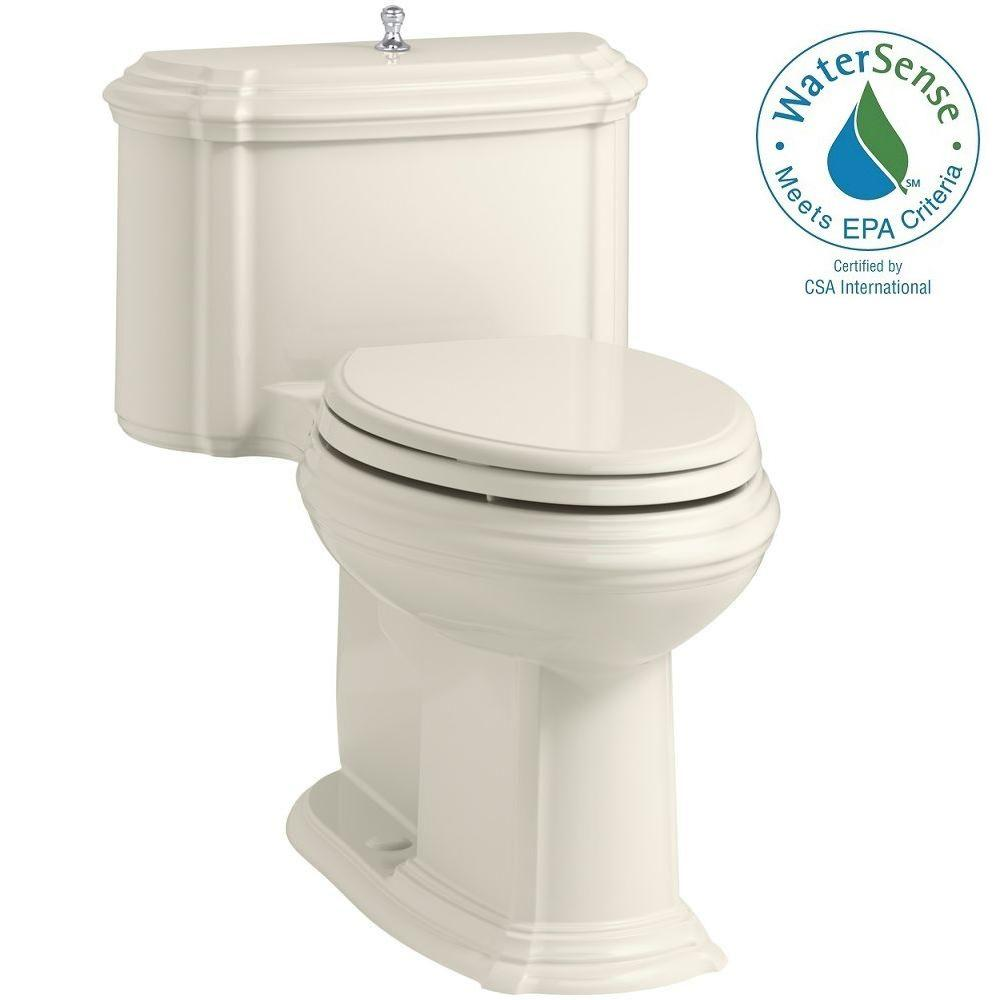 KOHLER Portrait 1-piece 1.28 GPF Single Flush Elongated Toilet with AquaPiston Flush Technology in Biscuit