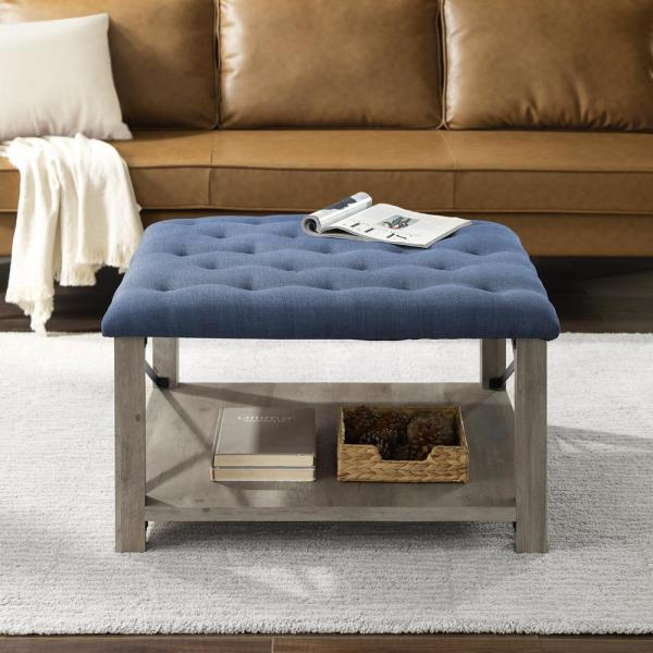 Welwick Designs 30 In Blue Farmhouse Tufted Ottoman Hd8314 The Home Depot