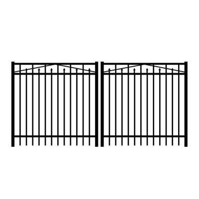 Adams 10 ft. W x 4 ft. H Black Aluminum 3-Rail Double Drive Fence Gate