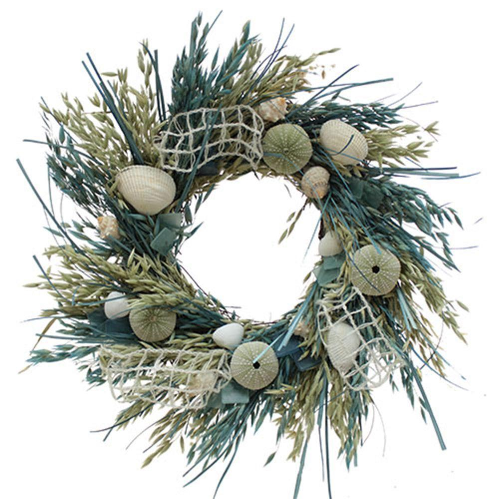 The Christmas Tree Company Crystal Tides 18 in. Seashell and Dried Floral Wreath