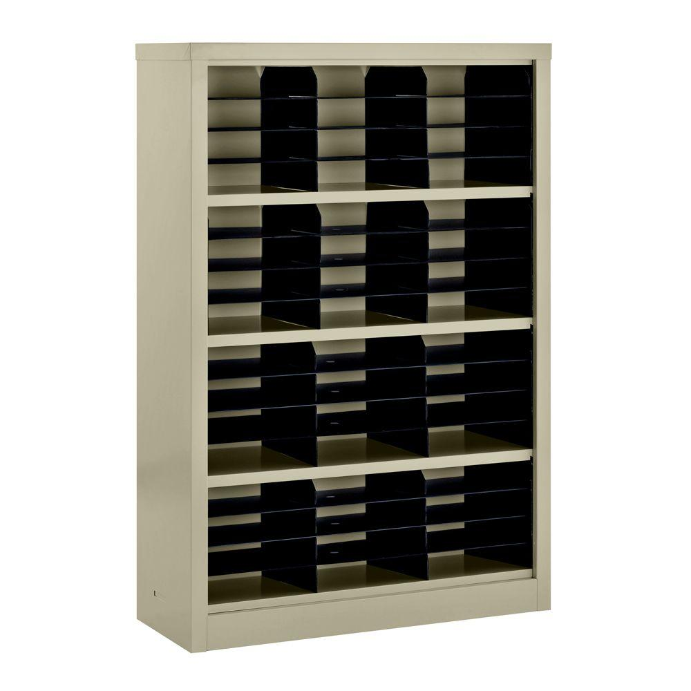 Sandusky 52 in. H x 34.5 in. W x 13 in. D Steel Commercial Literature Organizer Shelving Unit in Putty