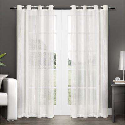 Penny Off White Sheer Grommet Top Curtain Panel 54 in. W x 84 in. L (2 Panels)