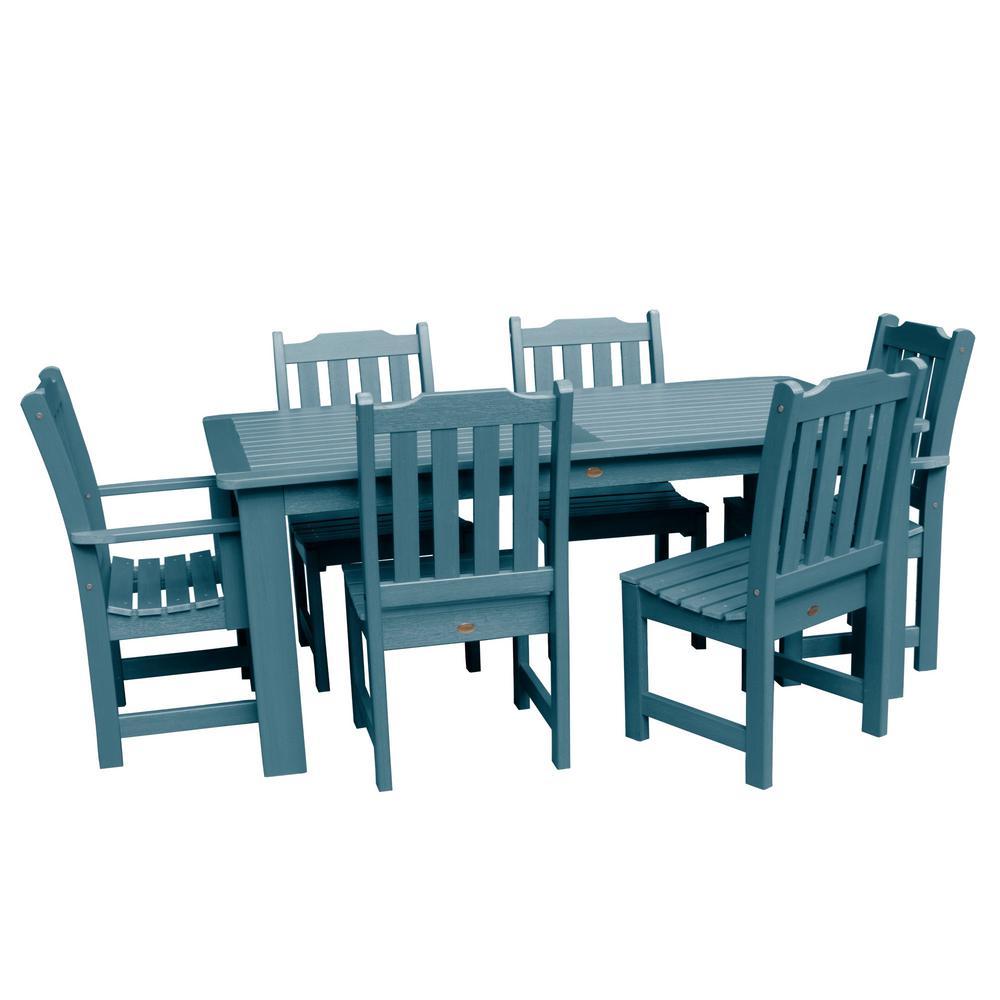 Lehigh Nantucket Blue 7-Piece Recycled Plastic Rectangular Outdoor Dining Set