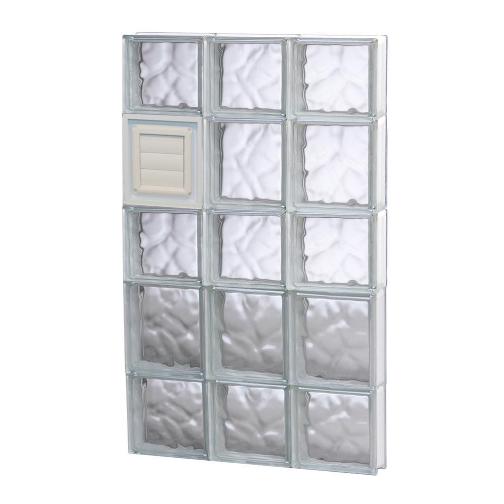 17.25 in. x 32.75 in. x 3.125 in. Wave Pattern Glass Bloc...