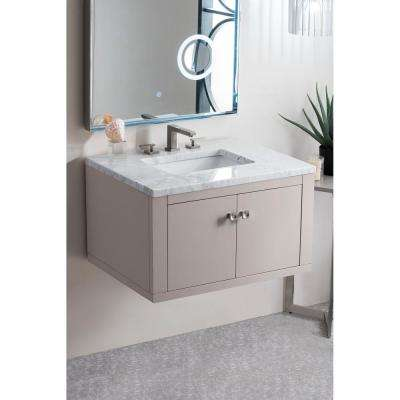 Silverlake 30 in. Single Bath Vanity in Mountain Mist with Marble Vanity Top in Carrara White with White Basin