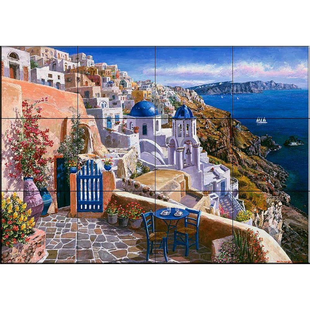 View of Santorini 17 in. x 12-3/4 in. Ceramic Mural Wall Tile