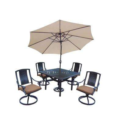 7-Piece Square Aluminum Patio Dining Set with Sunbrella Canvas Teak Cushions and Umbrella