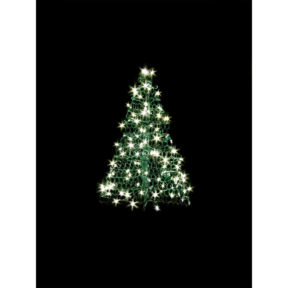 Christmas Led.Crab Pot Trees 3 Ft Indoor Outdoor Pre Lit Led Artificial Christmas Tree With Green Frame And 160 Clear Lights