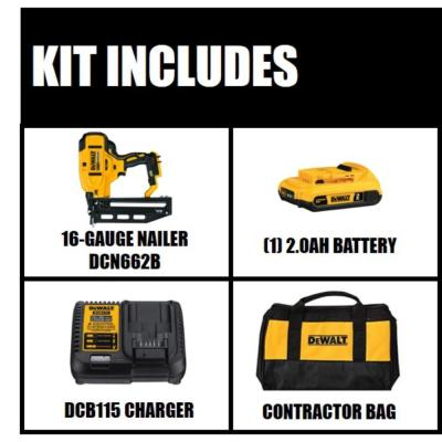 20-Volt MAX XR Lithium-Ion 16-Gauge Cordless Finish Nailer Kit with 2.0 Ah Battery, Charger and Kit Bag