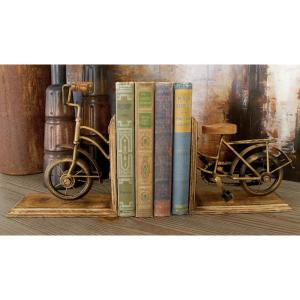 7 inch x 9 inch Gold Brass Vintage Bicycle L-shaped Bookends by
