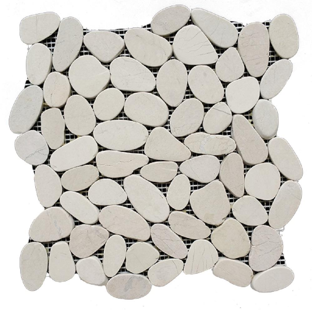 Rain Forest 12 in. x 12 in. White Honed Sliced Pebble Floor and Wall Tile (5.0 sq. ft. / case)
