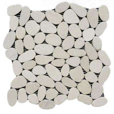 12 in. x 12 in. White Honed Sliced Pebble Floor and Wall Tile (5.0 sq. ft. / case)