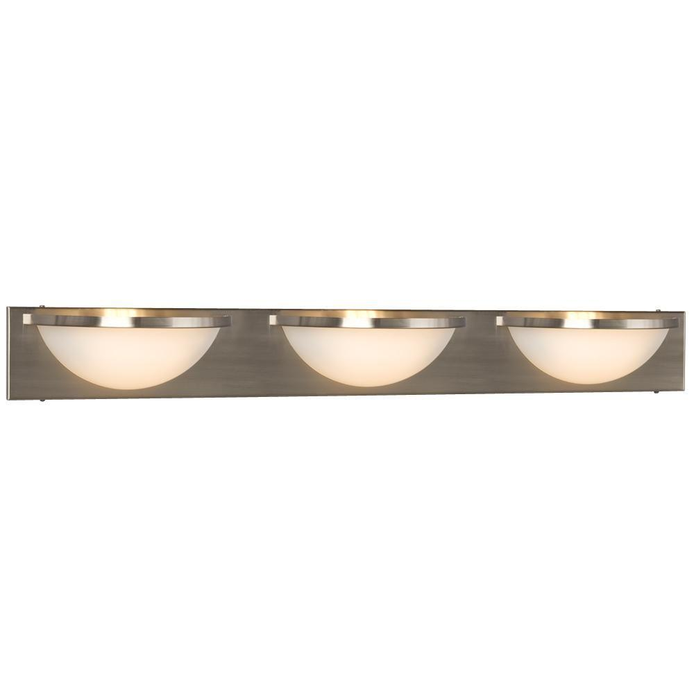 Negron 3-Light Brushed Nickel Halogen Bath Vanity Light