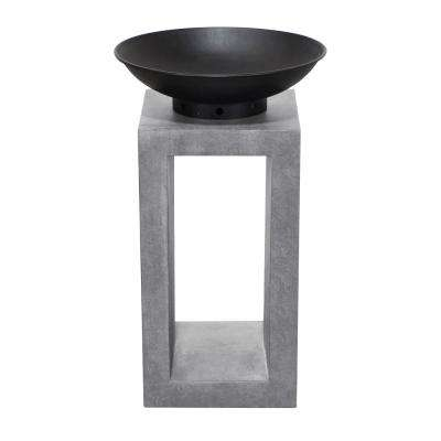 16 in. x 26 in. Rectangular Magnesium Oxide Wood Burning Midas Fire Pit in Light Gray Cement