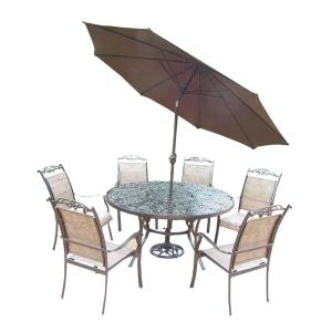 Click here to buy  Coffee 9-Piece Aluminum Outdoor Dining Set and Brown Umbrella.