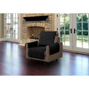 Black Microfiber Chair Pet Protector Slipcover with Tucks and Strap