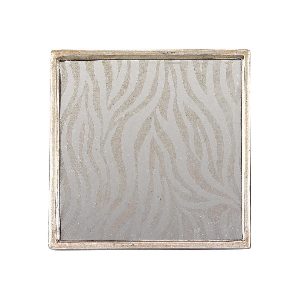 4-Piece Square Zebra Mirror Coaster Set