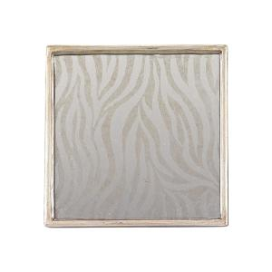 4-Piece Square Zebra Mirror Coaster Set by