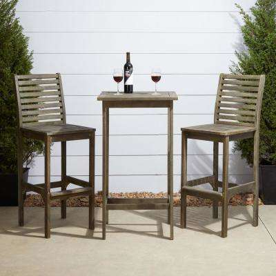 Renaissance Hand Ssed 3 Piece Wood Square Table Outdoor Bar Height Dining Set