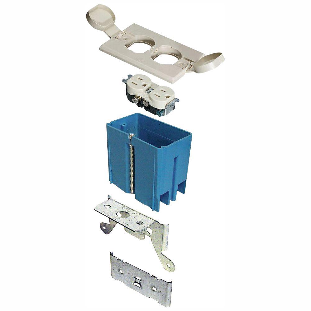 1-Gang 21 cu. in. Adjustable Floor Box - Ivory (Case of 4)