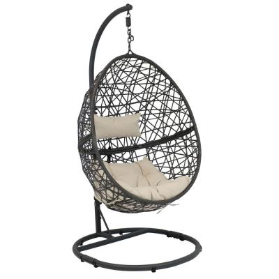 Caroline Resin Wicker Outdoor Hanging Egg Patio Lounge Chair with Stand and Beige Cushions