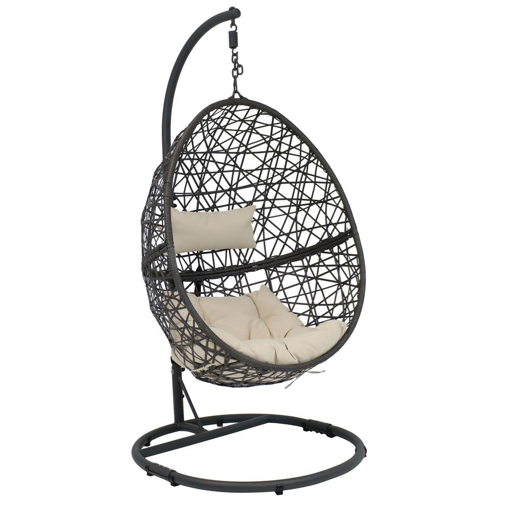 Pleasant Sunnydaze Decor Caroline Resin Wicker Indoor Outdoor Hanging Egg Patio Lounge Chair With Stand And Beige Cushions Home Interior And Landscaping Ologienasavecom
