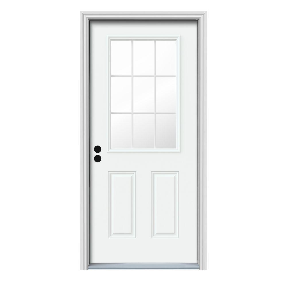 JELD-WEN 32 in. x 80 in. 9 Lite White Painted Steel Prehung Right-Hand Inswing Front Door w/Brickmould