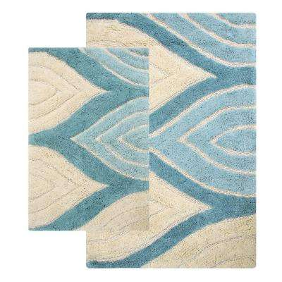 Davenport 21 in. x 34 in. and 24 in. x 40 in. 2-Piece Bath Rug Set in Aquamarine