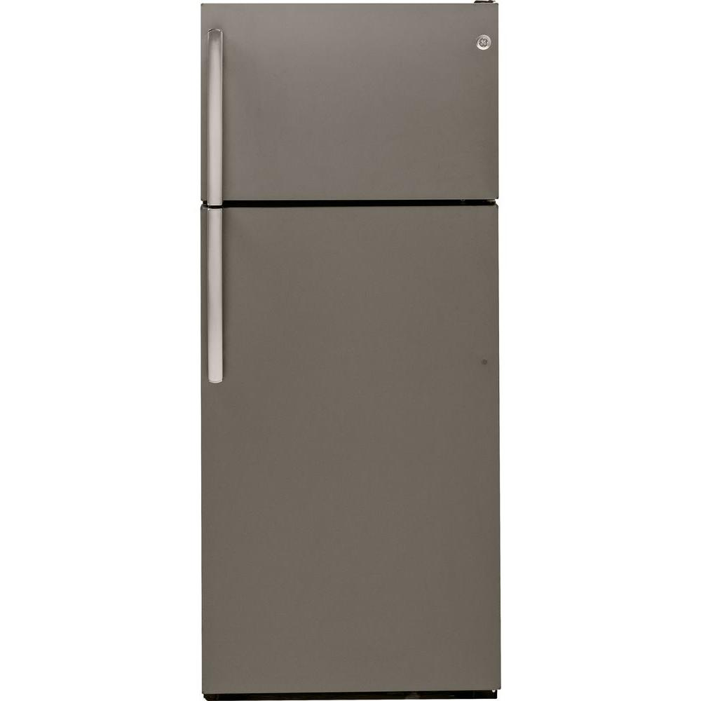 GE 28 in. W 18.1 cu. ft. Top Freezer Refrigerator in Slate
