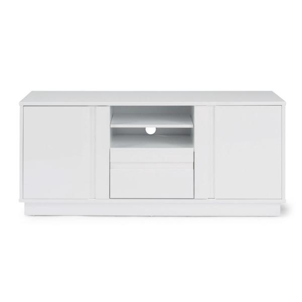 Linear 56 in. White Wood TV Stand with 1 Drawer Fits TVs Up to 65 in. with Storage Doors
