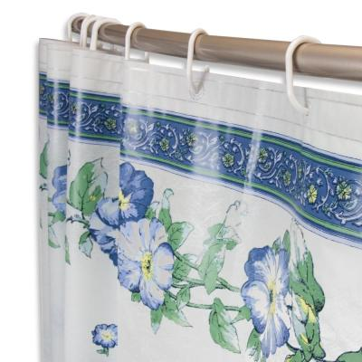 71 in. x 71 in. Blue Pastel Floral Shower Curtain