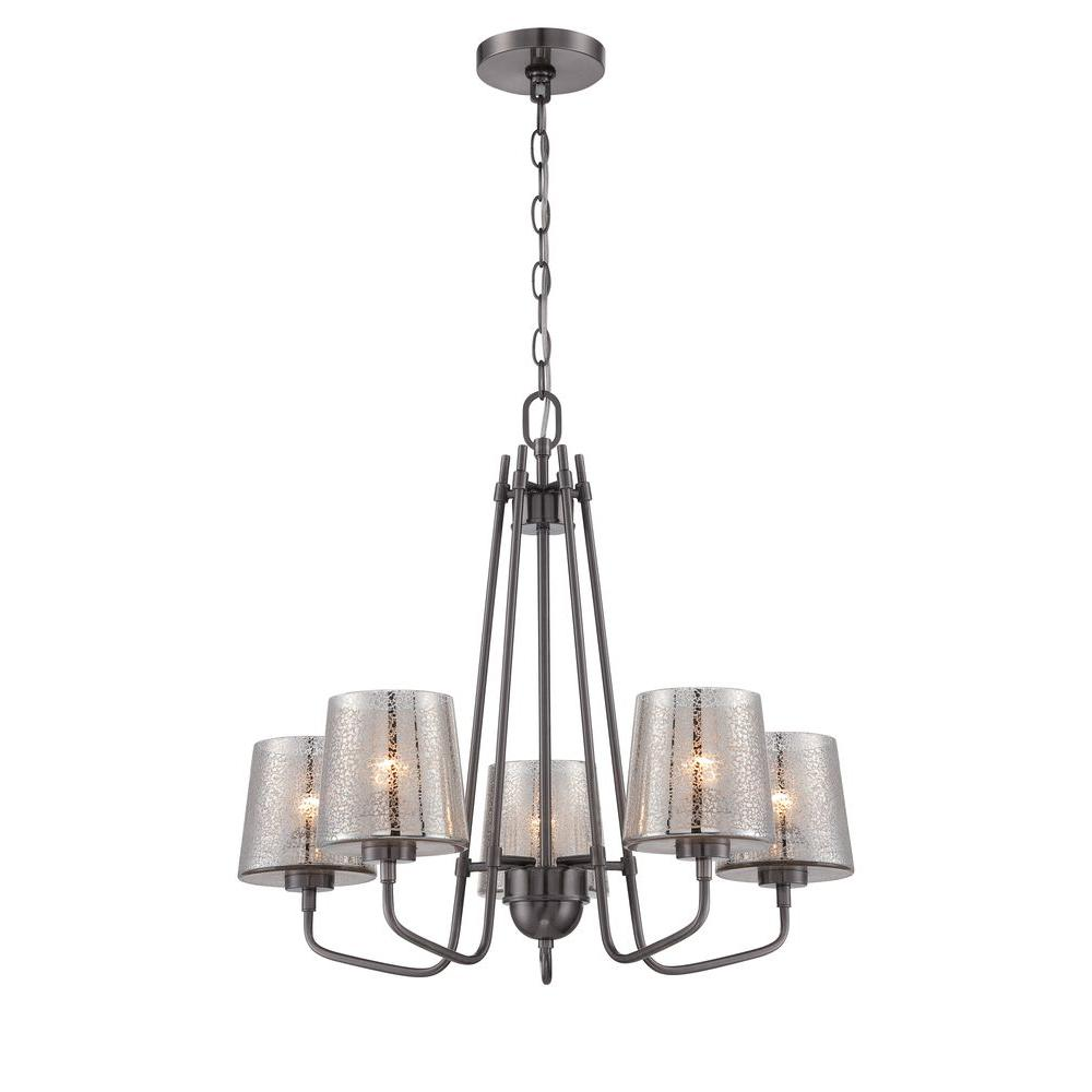 Varaluz Meridian 5-Light Black Chrome Chandelier with Recycled Mercury Glass