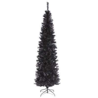 black tinsel artificial christmas tree